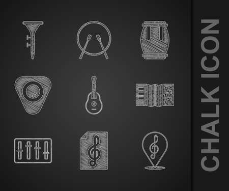 Set Guitar, Treble clef, Accordion, Sound mixer controller, pick, Drum and and drum sticks icon. Vector