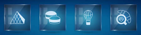 Set Louvre glass pyramid, Macaron cookie, Hot air balloon and Coffee cup with croissant. Square glass panels. Vector