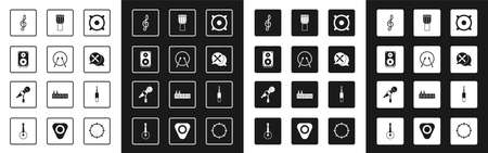 Set Stereo speaker, Drum and drum sticks, Treble clef, Audio jack and Microphone icon. Vector