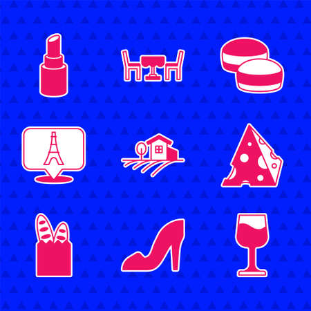 Set Village landscape, Woman shoe, Wine glass, Cheese, French baguette bread, Eiffel tower, Macaron cookie and Lipstick icon. Vector