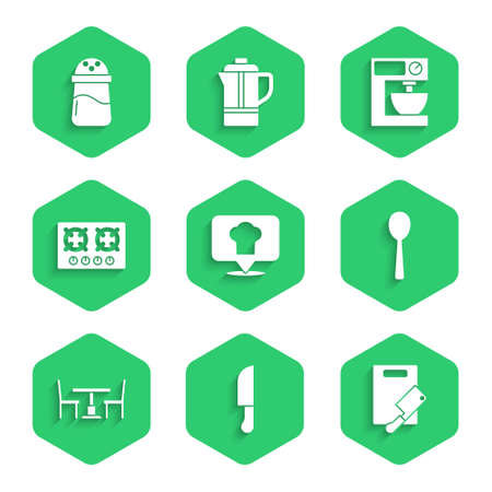 Set Chef hat with location, Knife, Cutting board and meat chopper, Spoon, Wooden table chair, Gas stove, Electric mixer and Salt icon. Vector