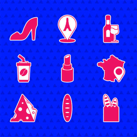 Set Lipstick, French baguette bread, Map of France, Cheese, Coffee cup to go, Wine bottle with glass and Woman shoe icon. Vector