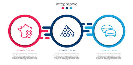Set line Map of France, Louvre glass pyramid and Macaron cookie. Business infographic template. Vector