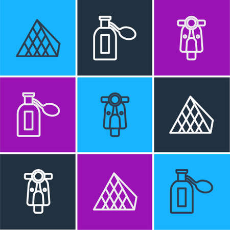 Set line Louvre glass pyramid, Scooter and Perfume icon. Vector