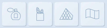 Set line Perfume, Louvre glass pyramid, French baguette bread and Flag France. White square button. Vector