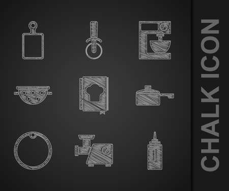 Set Cookbook, Kitchen meat grinder, Sauce bottle, Frying pan, Cutting board, colander, Electric mixer and icon. Vector Vecteurs