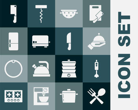 Set Crossed fork and spoon, Blender, Covered with tray, Kitchen colander, Toaster, Refrigerator, Meat chopper and Knife icon. Vector