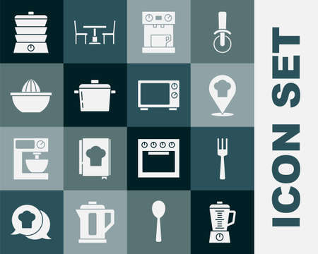 Set Blender, Fork, Chef hat with location, Coffee machine, Cooking pot, Citrus fruit juicer, Slow cooker and Microwave oven icon. Vector