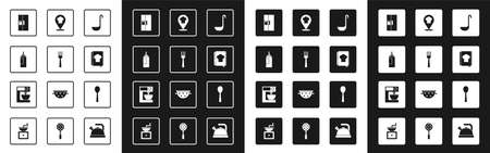 Set Kitchen ladle, Fork, Sauce bottle, Refrigerator, Cookbook, Chef hat with location, Spoon and Electric mixer icon. Vector Vecteurs