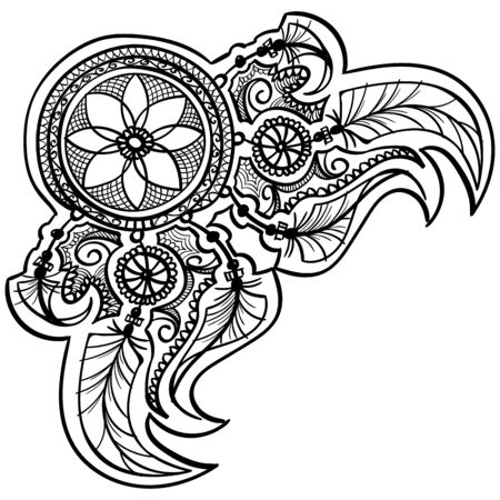 dreamcather tattoo coloring mehndi design with feathers. black doodle hand drawn contour outline isolated on white. vector ornament illustration Illustration