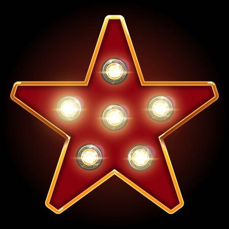 lampes de dressing étoile enseigne. rouge avec cadre doré d'or et lumières vives sur fond noir pour le spectacle. élément de décoration de scène de cabaret de théâtre. illustration vectorielle