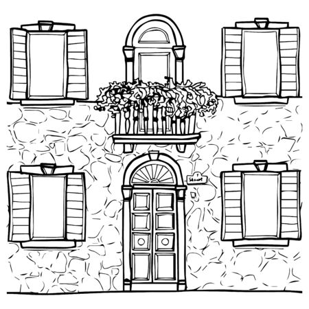 Hand drawn line art house fasade street with door balcony and windows
