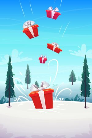 red boxes gifts pour in fall from the sky b background winter snow glade with fly clouds lue sky and fir trees , cartoon style vector illustration 向量圖像