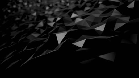 abstract background black dark low poly triangles . geometric shapes technical science wallpaper , glamour fashion sparkle of bloom defocus bokeh dots . raster render 3d 4k