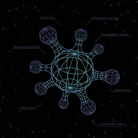 sci fi molecule shape interface screen futuristic HUD bar of the space ship. virus, bacteria, microbe structure atoms form and sign genetics illustration dark background wallpaper black and neon glow