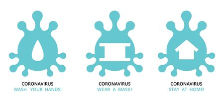 virus , bacteria , microbe icon shape set , group of schematic pictures of medicine icons with text recommendation signs for quarantine at self isolation stay home period . vector Illustration