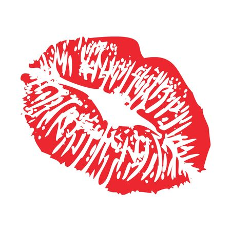 lipstick kiss print of woman kisses imprint red lips flirty stamp , isolated on white vector illustration Vector Illustratie