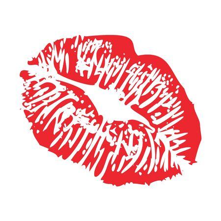 lipstick kiss print of woman kisses imprint red lips flirty stamp , isolated on white vector illustration Vetores