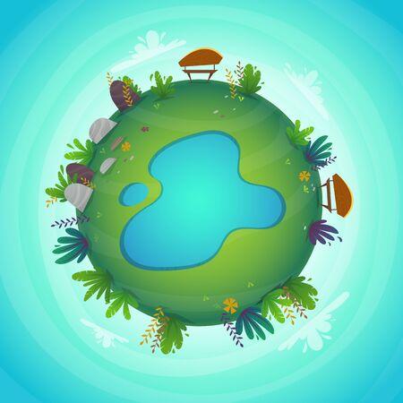 Panorama circular parque bosque vista concepto de planeta en miniatura con campo de hierba. concepto de naturaleza, plantas y flores de paz verde. Ilustración del concepto de ecología. divertido paisaje colorido alegre