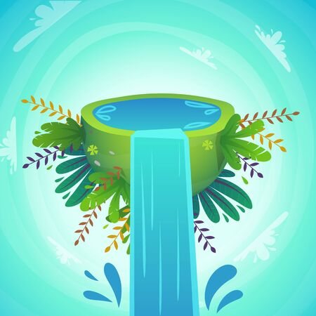 green peace half planet with water and cheerful plants and flowers . waterfall concept with splash drops . cartoon funny cute vector illustration
