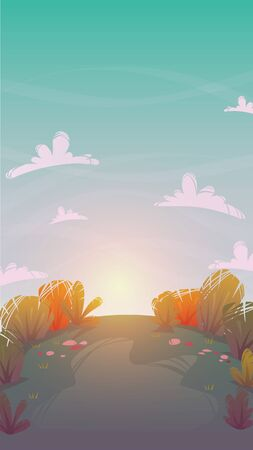 autumn sunset forest nature background . park grass field hill . trees and bushes greenpeace meadow , summer or spring bright happy funny cartoon vector illustration wallpaper