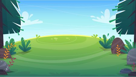 grass glade lawn in the forest background, joyful bright kids green field, cartoon style hill summer sun clear sky with clouds bushes and flowers in the garden with fir trees , vector