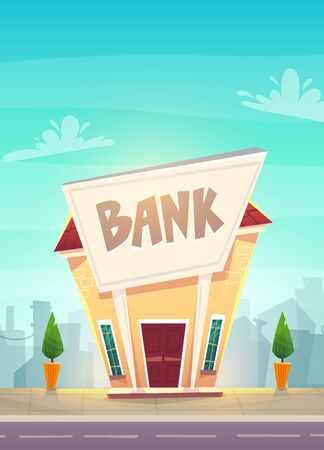 cartoon bank branch at city street illustration . happy financial business planing .  money of stock exchange finance vector. safe deposit box or credit