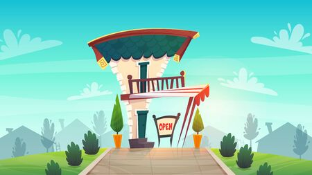 cafe restaurant or shop cartoon style medieval roof tavern with white red stripes canopy . sign board open at street . sunset happy bright colours vector illustration