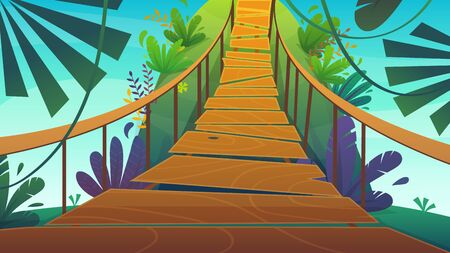 suspension bridge in a jungle cartoon background of summer exotic nature , bright colours funny and happy travel vertical vector illustration Ilustração