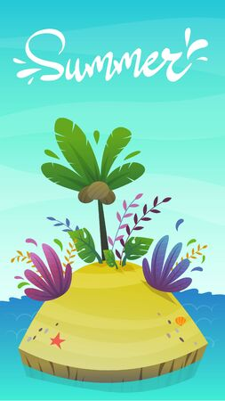 cartoon desert tropic island with coconut palm tree and exotic funny plants . summer travel tourism holiday vector illustration , uninhabited island at sea ocean