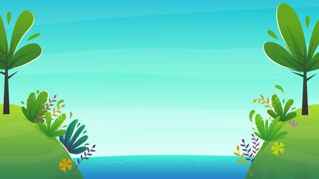 tropical cartoon island background . blue sky clouds and sea ocean water horizon , kids funny vector illustration with exotic plants and palm tree