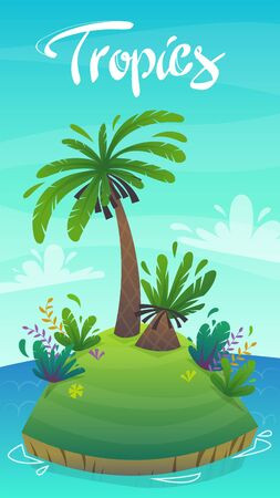 Coast of tropical island with sand beach and palm trees. Vector landscape panorama with lettering cartoon style background. Иллюстрация