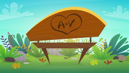 initials love and heart carved on a tree bench in the park on a hill with green grass and bushes plants. Nature outdoors background cartoon funny cheerful style. vector