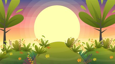 sunset park background, nature park or forest lawn glade and sunset sky sun violet and pink clouds. vector cartoon illustration landscape  イラスト・ベクター素材