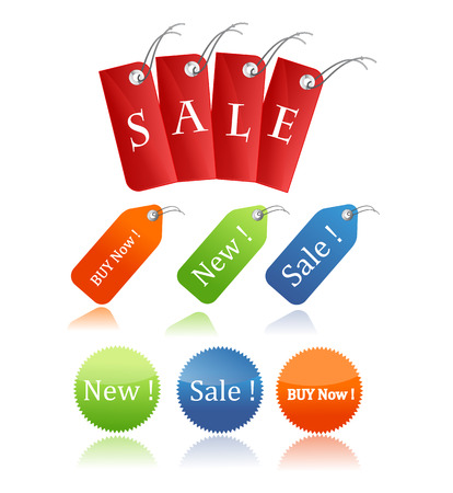 red sales tags with optional transparent shadow Vectores