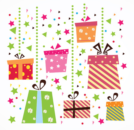 다채로운 선물 상자 배경 벡터 세트