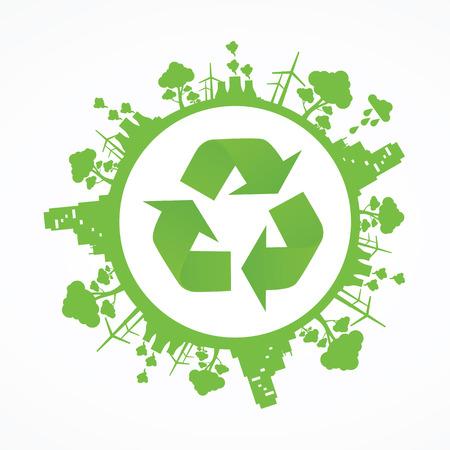 Simboli di ambiente verde sulla terra