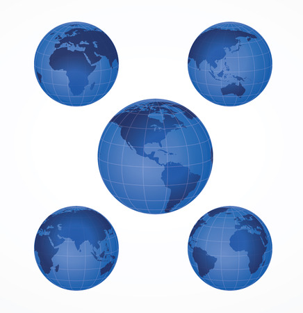 Glossy globe icons. illustration. Vectores