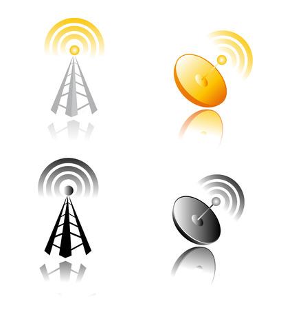 vector design of radio tower symbols