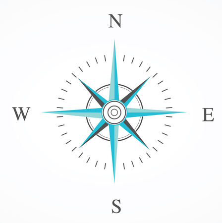 blue compass rose isolated on whte Çizim