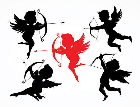 collection of 5 cupid silhouettes Vectores