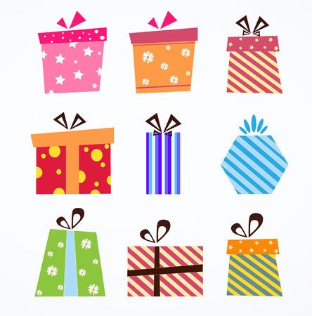 다채로운 선물 상자 기호 벡터 설정