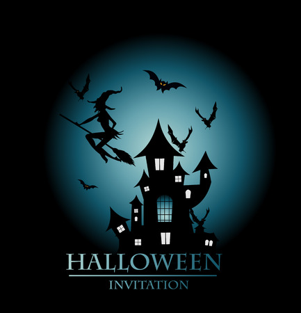 Halloween background with moon and witch