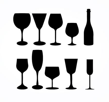 copa de vino: Vino Copa de cristal Vectores