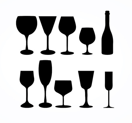 cups silhouette: Wine Glass Cup