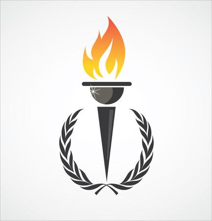 llamas: Flaming antorcha en corona de laurel para el dise�o de los deportes Vectores