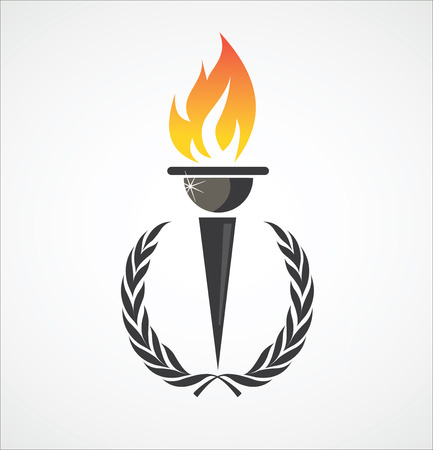 flames icon: Flaming torch in laurel wreath for sports design