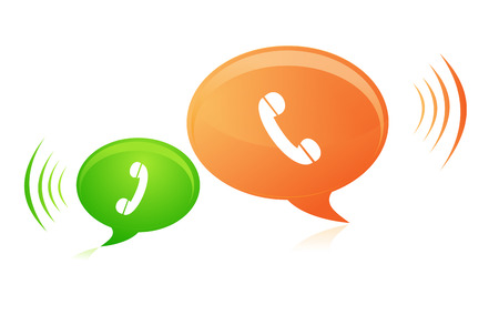 다양 한 화려한 블루 전화 웹 아이콘 흰 배경에 고립의 이미지.