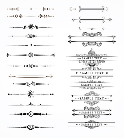 old page: Vector set of decorative divider elements border