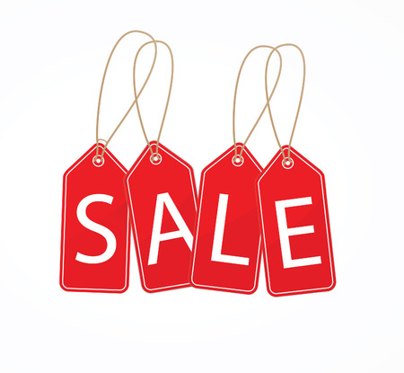 Colourful hanging sales tags Vectores